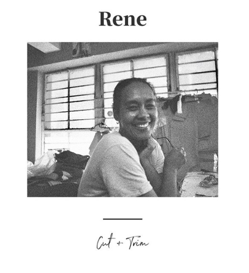 Black and white film photo of cut and trim specialist, Rene